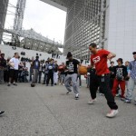 Flash mob football freestylers