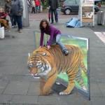 3D Street art Plasma TV artwork