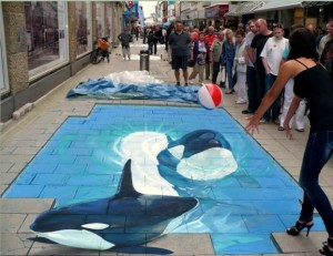 3D artwork whales