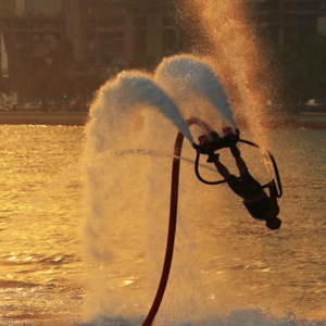Somersaulting Flyboard Stunt performer