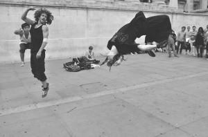 Acrobatic street breakdancers - London UK