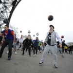 Freestyle Football performers flash mob - Eiffel Tower