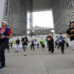 Freestyle football entertainers performing in a flash mob