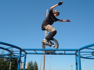 Extreme unicycle show
