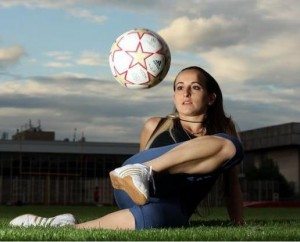 Entertaining female footballer