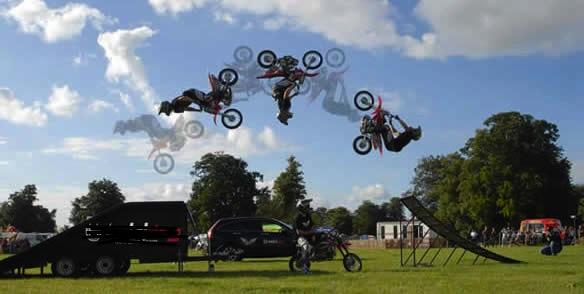 Motorbike back flip show
