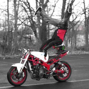 Motorbike stunt rider