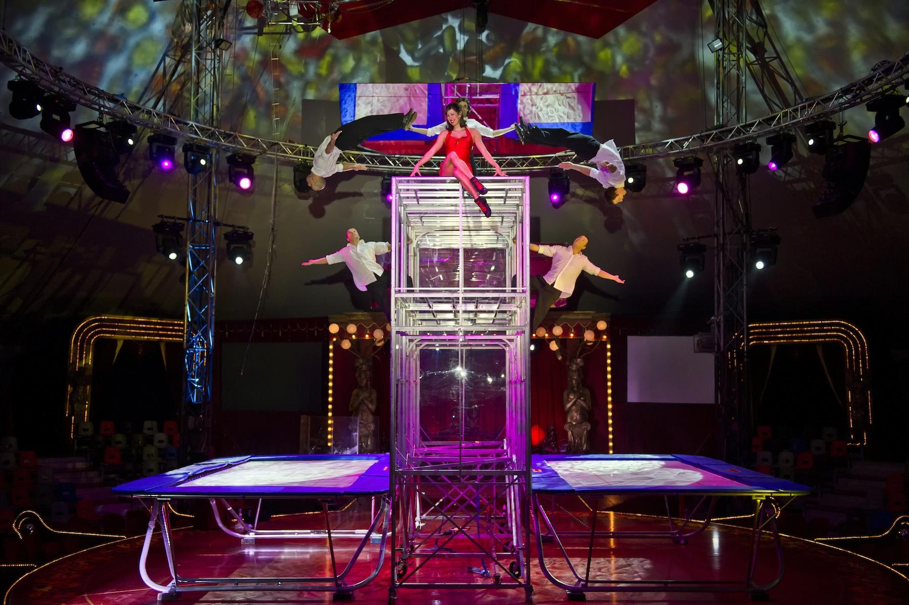 Stage trampoline show
