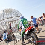 Globe of death motorcycle stunt show