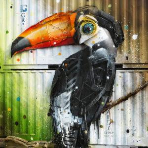 Sidewalk art created through recycling