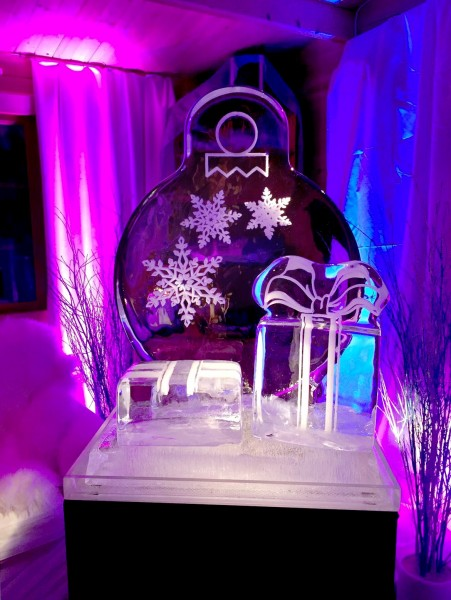 Christmas themed ice sculpture