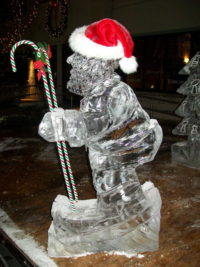 Santa Christmas ice sculpture