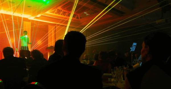 Live laser harp performer