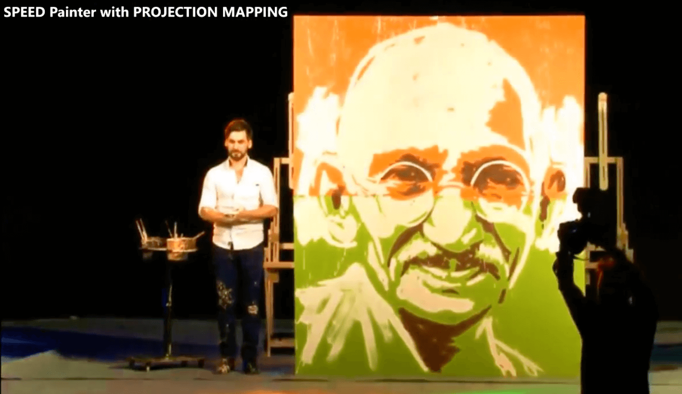Projection map speed painting entertainment for events