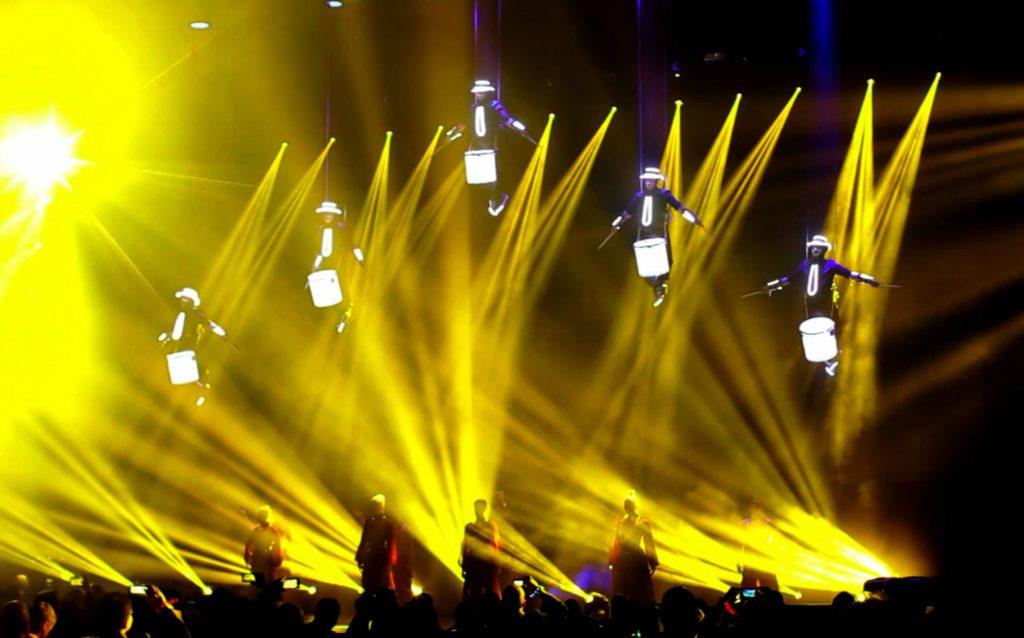 Aerial LED Drum Show