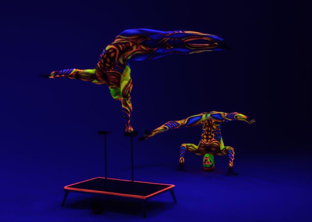 Luminous acrobatic performers