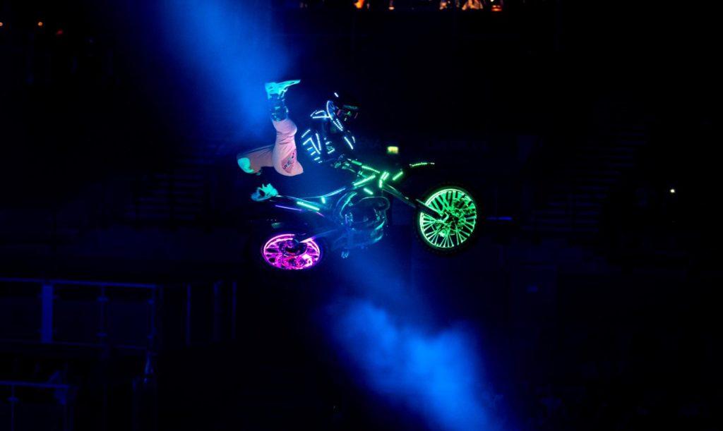 Motorbike stunts with lights