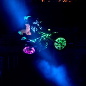 Motorbike stunts with lights