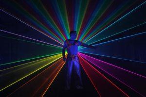 Coloured laser man entertainer