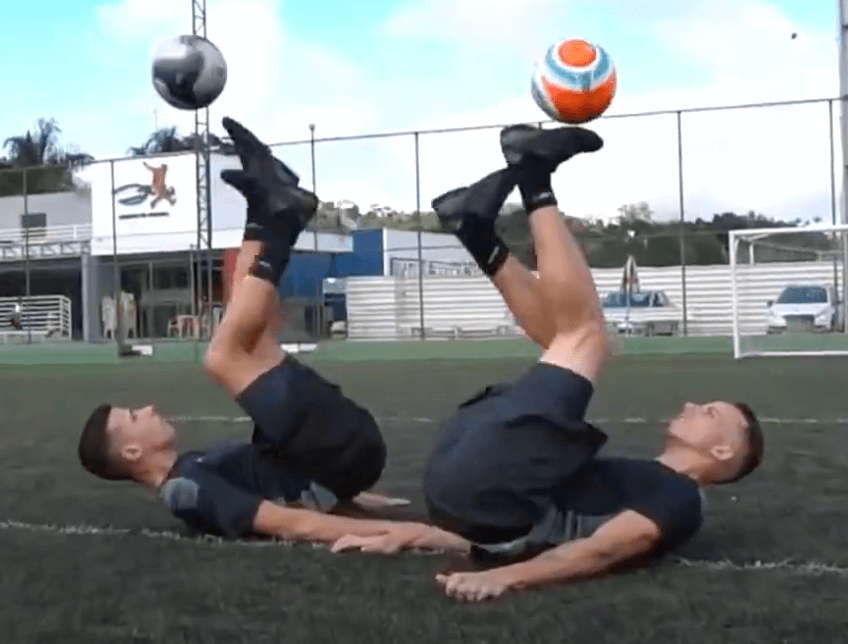 Sychronised duo football tricks