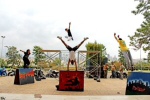 Parkour free running athletes for live stage shows